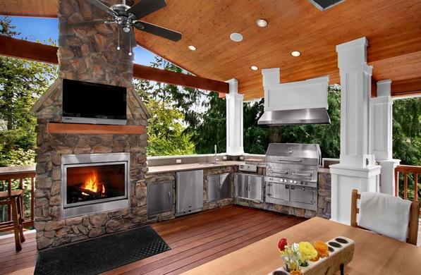 Летняя кухня с камином фото своими руками 54