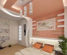 Спальня в персиковых тонах. Фото интерьеров