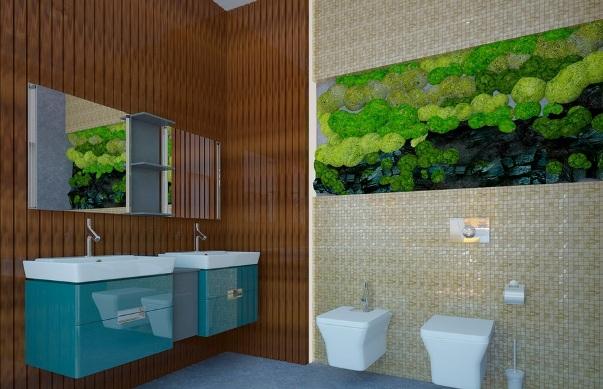 сочетание коричневого и зеленого в ванной