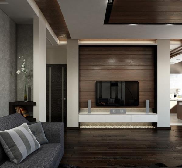 серый и коричневый в гостиной