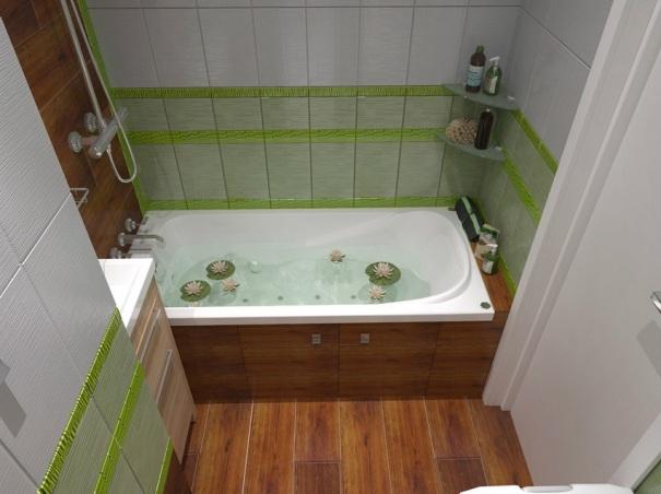ванная зеленая с белым