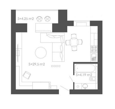 план схема однокомнатной квартиры 40 кв м