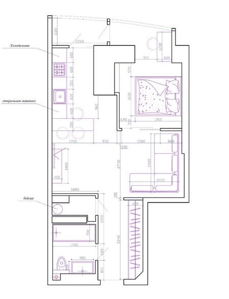 план схема квартиры студии 40 кв м