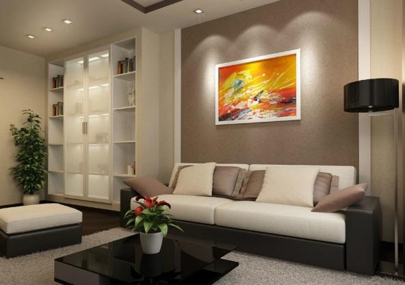 картины в гостиной под диваном