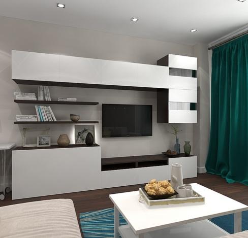 интерьер гостиной в однокомнатной квартире