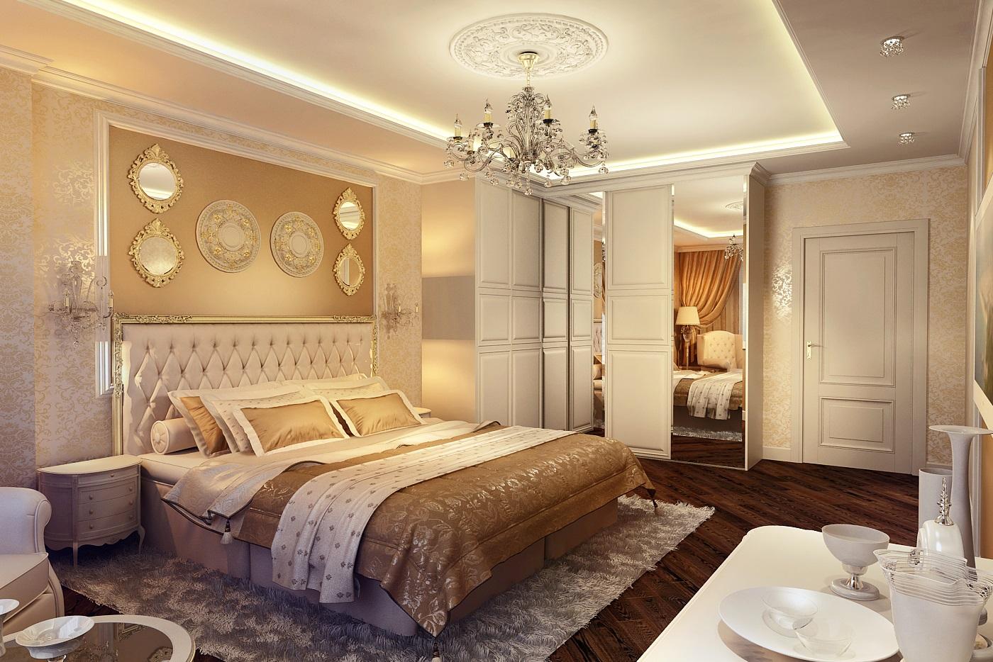 Дизайн спальни классика в светлых