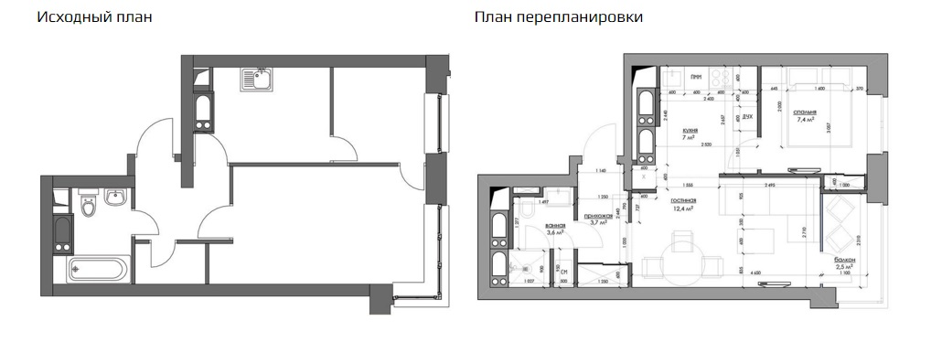 Интерьер квартиры-студии с кроватью в нише, 33 квм