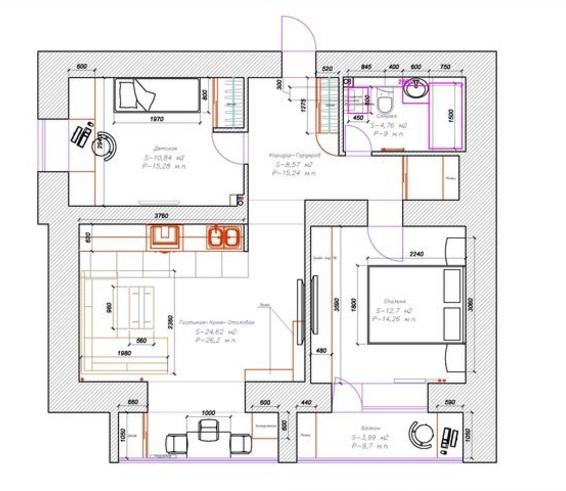 пример планировки двухкомнатной квартиры 60 кв м