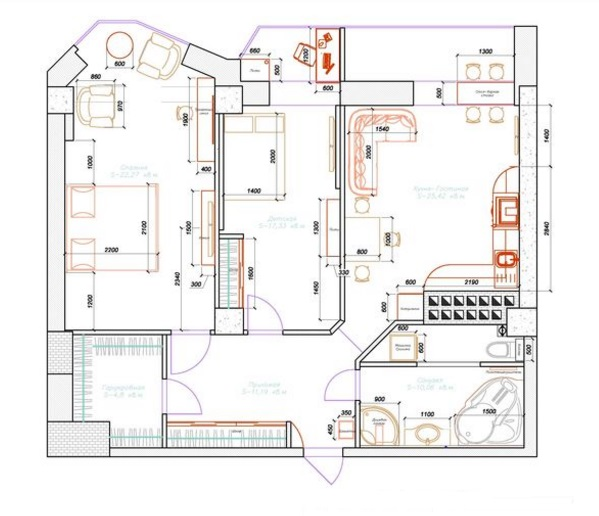 классическая планировка классической двухкомнатной квартиры 60 кв м