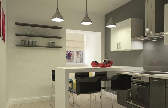 светильники в интерьере кухни