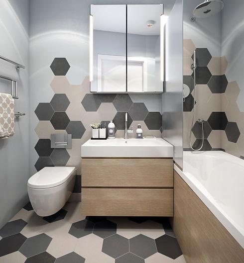 необычная плитка в ванной