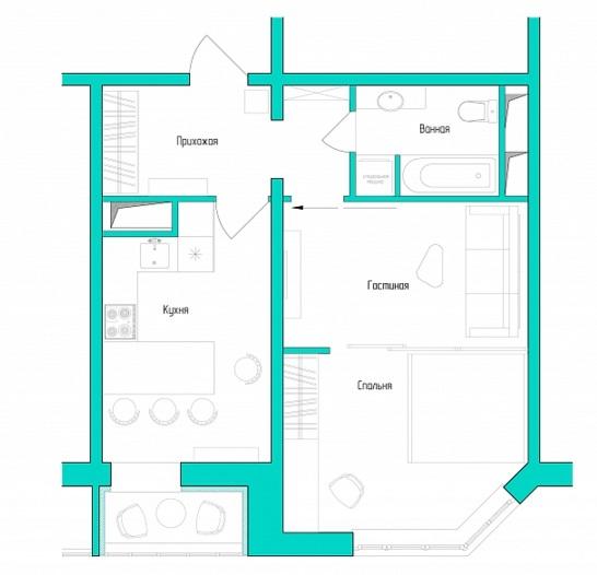 фото планировки однокомнатной квартиры 45 кв м