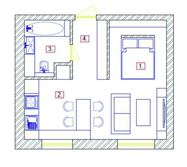 План однокомнатной квартиры 33 кв м