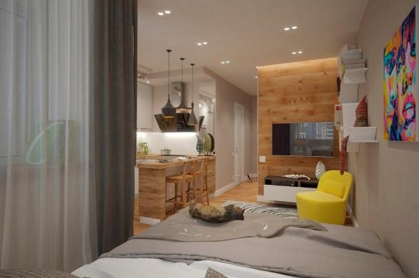 Желтые акценты в интерьере однокомнатной квартиры