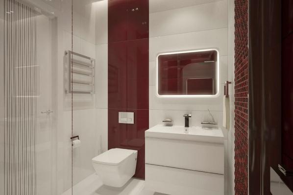Ванная сочетание белого и красного цветов