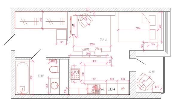 Схема однокомнатной квартиры 33 кв м