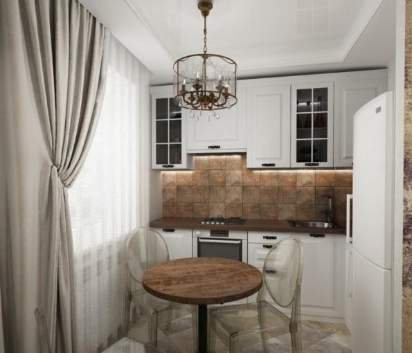 Встроенная кухня белого цвета