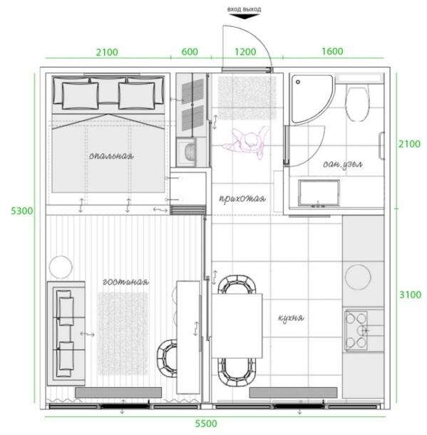 планировка квартиры студии 29 кв м